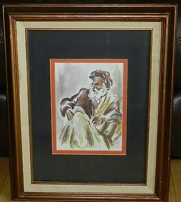 "Vintage 1955 David Gilboa Judaica ""An Old Man from Morocco"" Original Frame/Mat"
