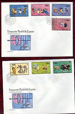 CARIBBEAN STAMPS-World Fencing Championship, set on 2x FDC 1969