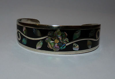 Mexican Alpaca Silver Flower Cuff Bracelet Inlaid with Abalone.