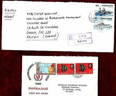 CARIBBEAN STAMPS- Battleships 80c,5$, fish 15c, 2x postal covers.1969-98
