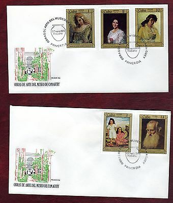 CARIBBEAN STAMPS- Paintings, 2x FDC, 1974
