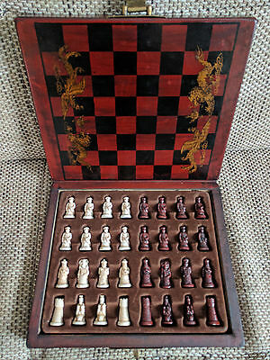 Unique hand-made China style chess set in wooden box