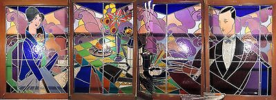 Art Deco Stained Glass Cafe Scene Window