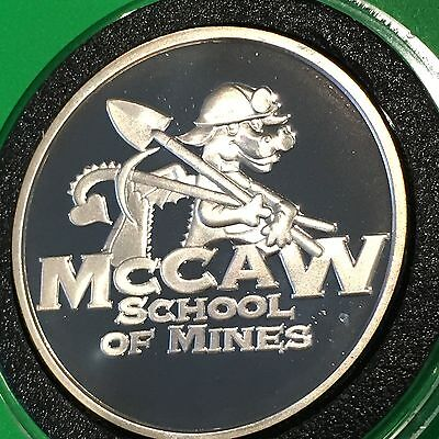 SCARCE McCaw School o Mines Sunshine PROOF Coin 1 Troy Oz .999 Fine Silver Round