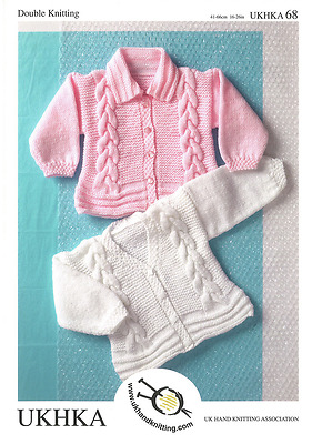 UKHKA 68 Baby Girls Cardigans DK Yarn Birth - 6yrs Knitting Pattern