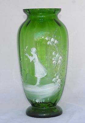 Antique Tall 28.5cm Mary Gregory Green Glass Vase - Girl/Foliage