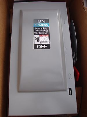 Siemens GF322NR 60A Fuseible Safety Switch, 240VAC, 250VDC, 3P