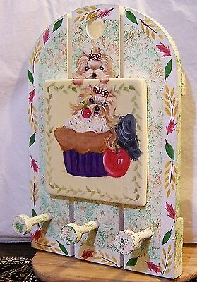Yorkie hand painted  solid wood and ceramic tile wall art with 3 hooks