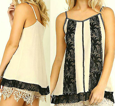 Umgee Top Size XL S M L Black Embroidered Lace Tank Floral Boho Womens Shirt New