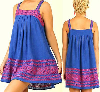 Umgee Dress Size XL S M L Embroidered Cobalt Free Boho People Tunic Womens New