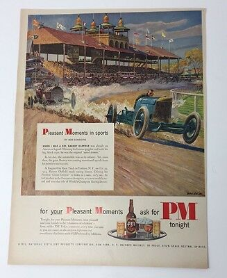 Original Print Ad 1951 PM Whiskey in Sports Vintage Auto Race Belck Artwork