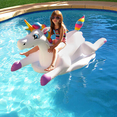 Inflatable Pool Float Rainbow Ride-On 70 inches l x 30 inches w x 35 inches h