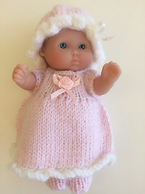 """4  piece  Hand knitted  outfit to suit  a  5 """" Berenguer baby doll..."""