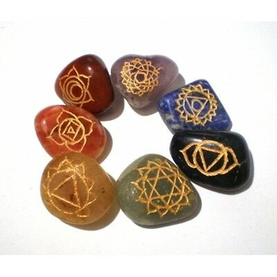 FindSomethingDifferent Set of 7 Chakra Tumble Stones with Engraved Gold Symbols