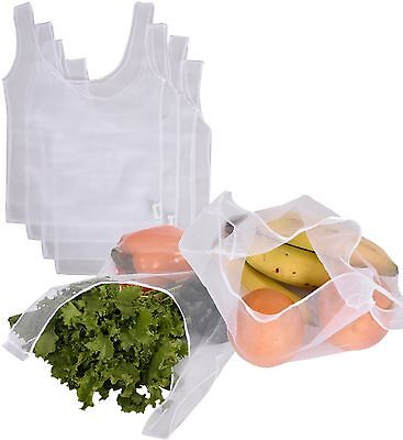 CWC Set of 4 Reusable Recycled Mesh Grocery & Produce Bags