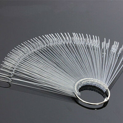 50 Nail Tips Pop Sticks Display Fan Clear False Practice Starter Kit with Coil