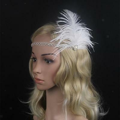 Women's 1920s Great  White Feather Fascinator Flapper Crystal Headband