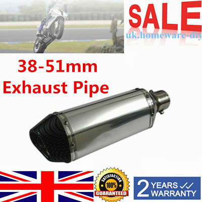 Exhaust Muffler Pipe With Removable Silencer For Motorcycle 38-51mm Carbon Fiber