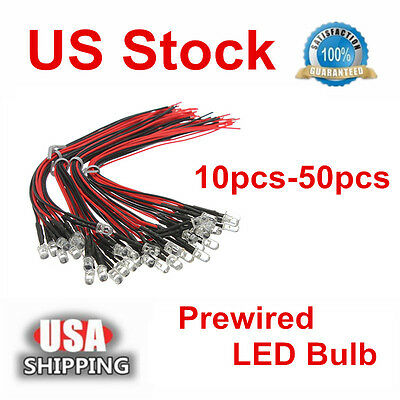10/50x 12V LED Light Pre Wired Prewired Pre Soldered Emitting Diode Bulb Lamp