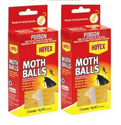 2 X HOVEX MOTH BALL for MOTHS AND SILVERFISH NAPTHALENE 2 capsules18g 3-6 Months