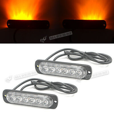 2Pcs 6LED Waterproof Grille Emergency Becons Strobe Light Amber 12-24V