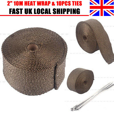 "2"" 10m Roll Titanium High Temp Exhaust Magma Heat Wrap + 10pcs 30CM Cable Ties"