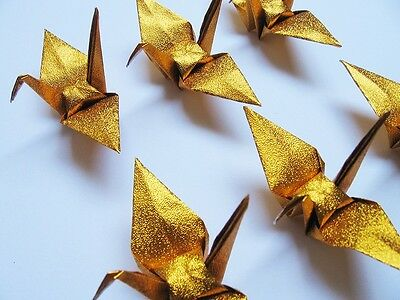 100 Small Gold / Glittering Origami Cranes For Wedding Decorations