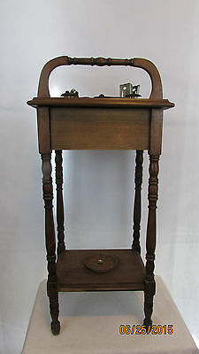 Vintage Oak Smoking Table with Removable Ash Tray Cigarette Holders Tobacciana