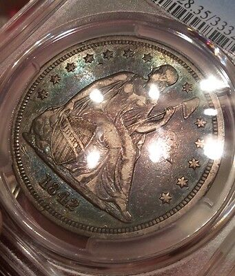1842 Seated Liberty Silver Dollar PCGS VF35. Amazing Toning. Rare Collector Coin