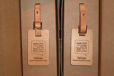 Two Taoynan International Airport Taiwan Wooden Luggage ~ Baggage Tags