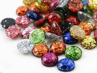 40pcs 12mm Glitter Resin Cabochons | Mixed Colours | New Bigger Pack Size