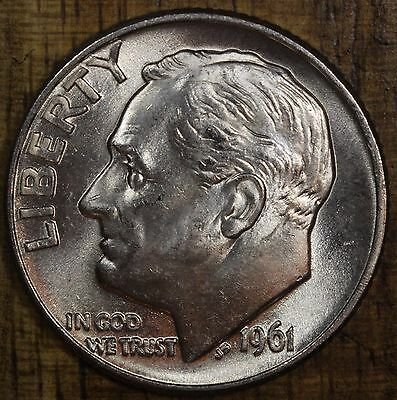 1961 D Roosevelt Dime 10C CH BU LUSTER! 90% Silver US Coin FREE SHIPPING