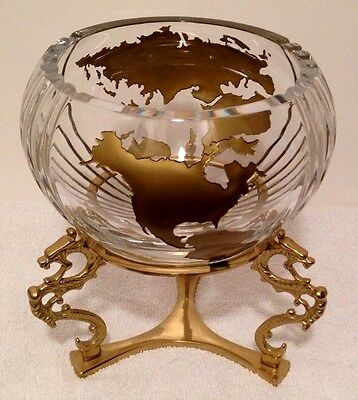 RARE LARGE Vintage World Crystal Glass Bowl Centerpiece with Dragon Brass Stand