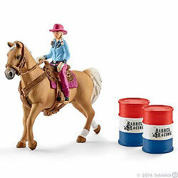 Schleich --Barrel Racing with Cowgirl --Hard Plastic Toy Figure