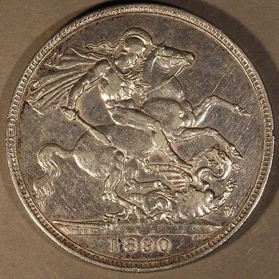 1892 Great Britain Silver Crown Better Date Cleaned ** FREE U.S SHIPPING **