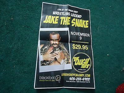 WWE WWF Jake The Snake Roberts Poster Nov 9/15 Calgary VERY RARE Wrestling