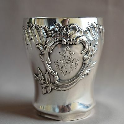 French Antique Rococo Sterling Silver Mint Julep Wine Cup Timbale Tumbler