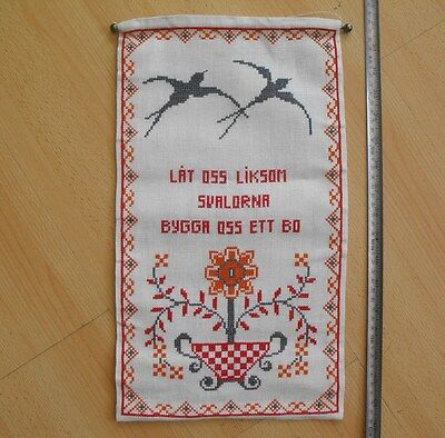 vintage Swedish cross-stitch hand-embroidered wall hanging Family nest
