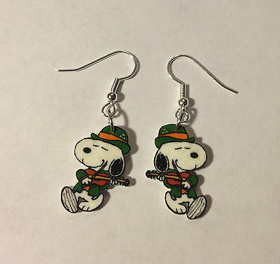 Snoopy St Patrick Day Earrings Playing the Fiddle Charms Charlie Brown