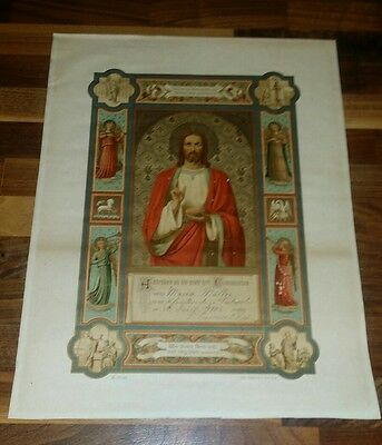 Antique First Holy Communion Certificate in German 1902 Teutopolis IL Muller