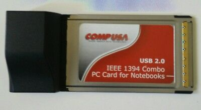 CompUSA PCMCIA to USB 2.0 IEEE1394 Firewire Adapter Combo PC Card for Laptop
