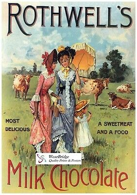 Vintage British Advertising Poster: ROTHWELL'S MILK CHOCOLATE: A3 Reprint
