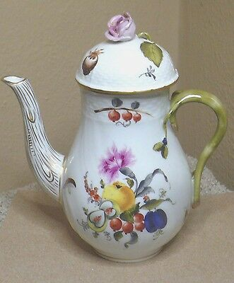Vtg Herend Market Garden Mini Coffee Pot - Fruits Flowers Insects Branch Hungary