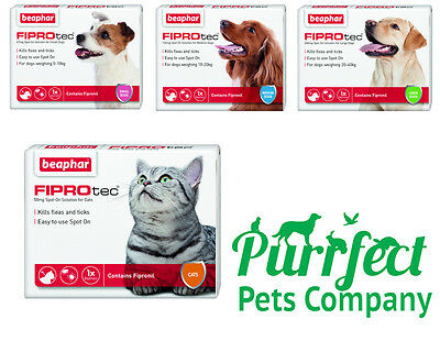 BEAPHAR FIPROtec SPOT ON FLEA TICK TREATMENT Solution S M L Dog/Cat Fipronil