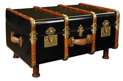 G686: Steamer Trunk, Maritime Sofa Table,Suitcase Table in the Navy Style, Black
