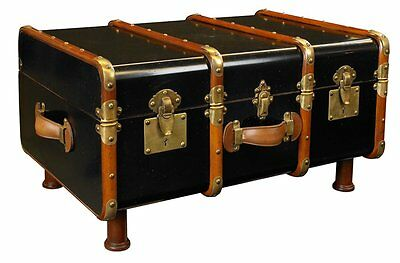G686: Steamer trunk, maritimer Sofa Table, Suitcase Table im Marine Style, Black