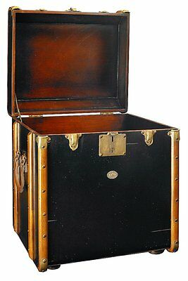 G708: Victorian Steamer trunk, maritime Sofa Table, Laundry Suitcase Black