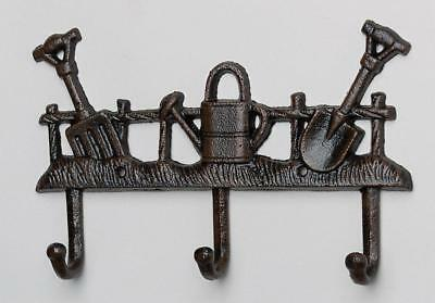 "G2083: Nostalgia Hook rack ""Garden tools"", garden Garderobe Iron Rust brown"