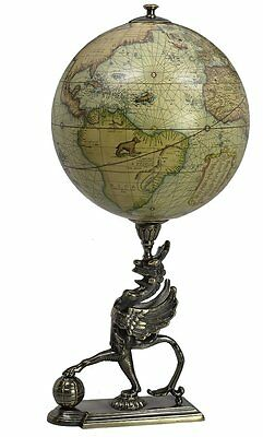 G557: Baroque Globe on Brass stood as Mythical creatures, after Gerhard Mercator