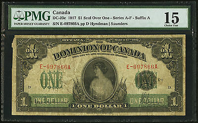 RARE CANADA DC-23c 1917 $1 SERIES A-F (PMG) F-15 Princess Patricia SEAL OVER ONE